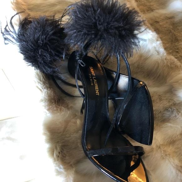 d1302dc4fac Saint Laurent Shoes | Feather Embellished Sandals | Poshmark